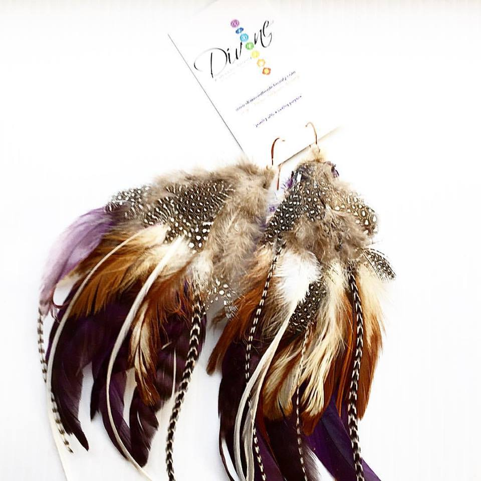 Image of From The Goddess Feather Collection~ Brown and Purple Rooster Feather Earrings
