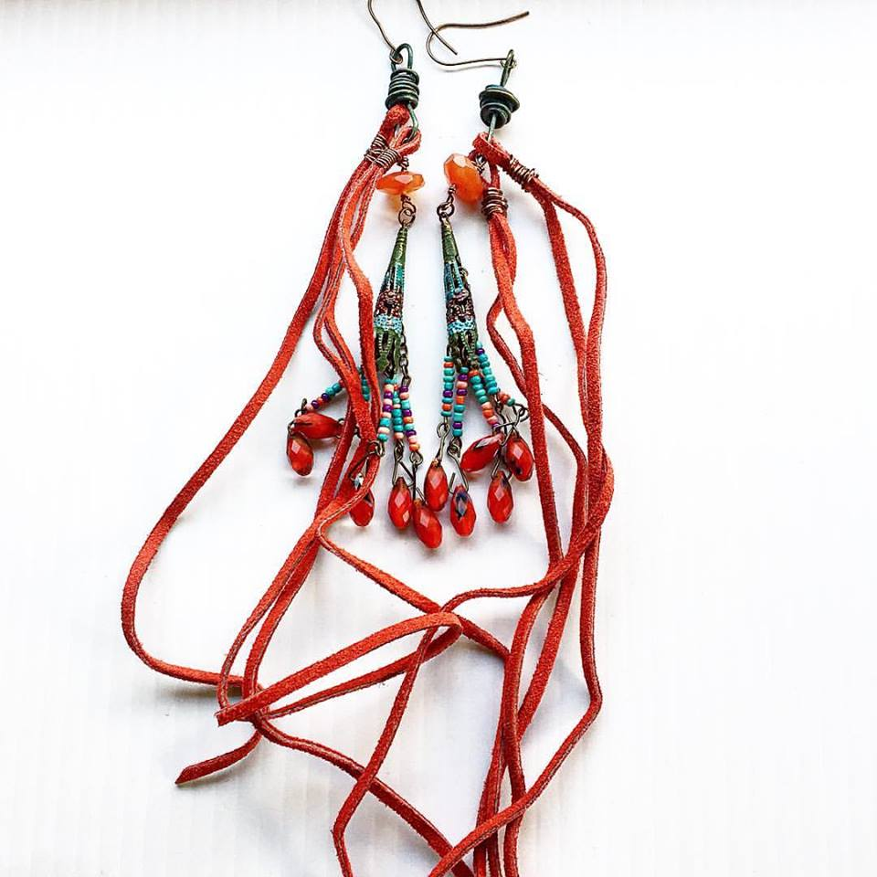 Image of Copper Patina Indian Goddess Carnelian Earrings with Suede Fringe