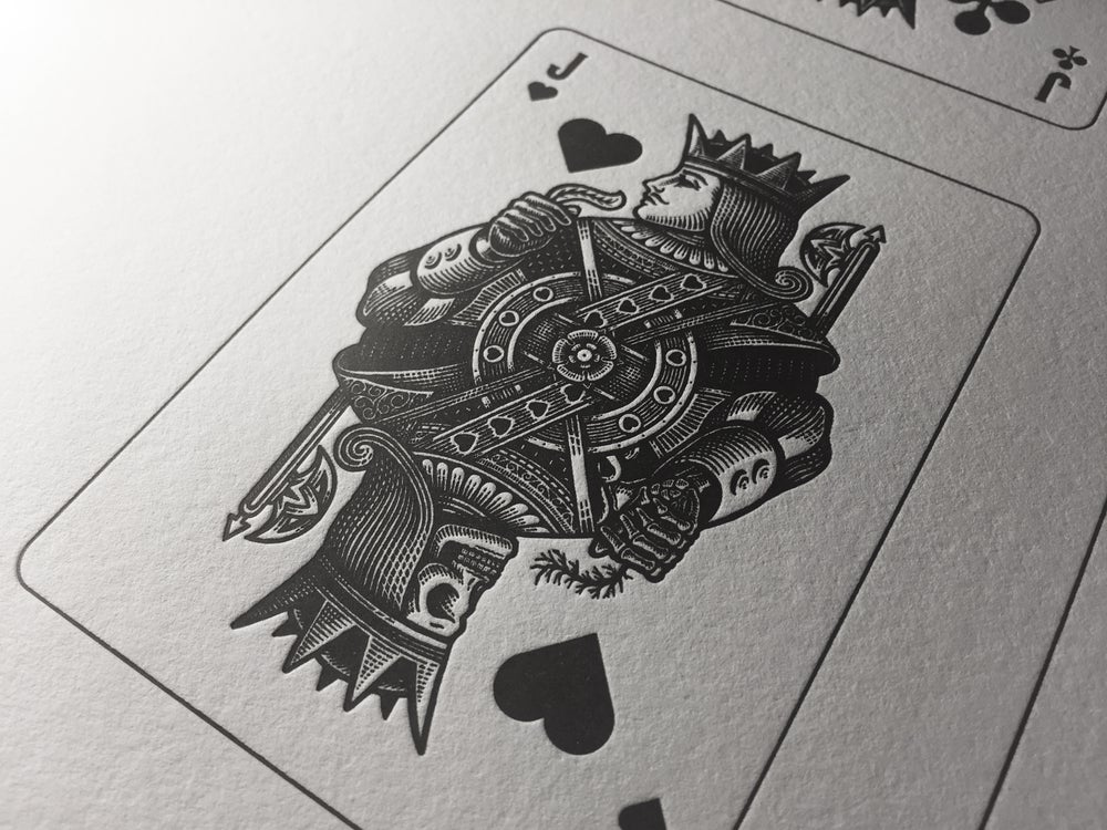 Image of Moirai playing card letterpress poster