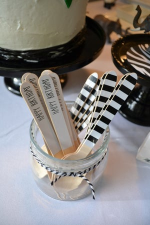 Image of {Black Stripe} Wooden Forks