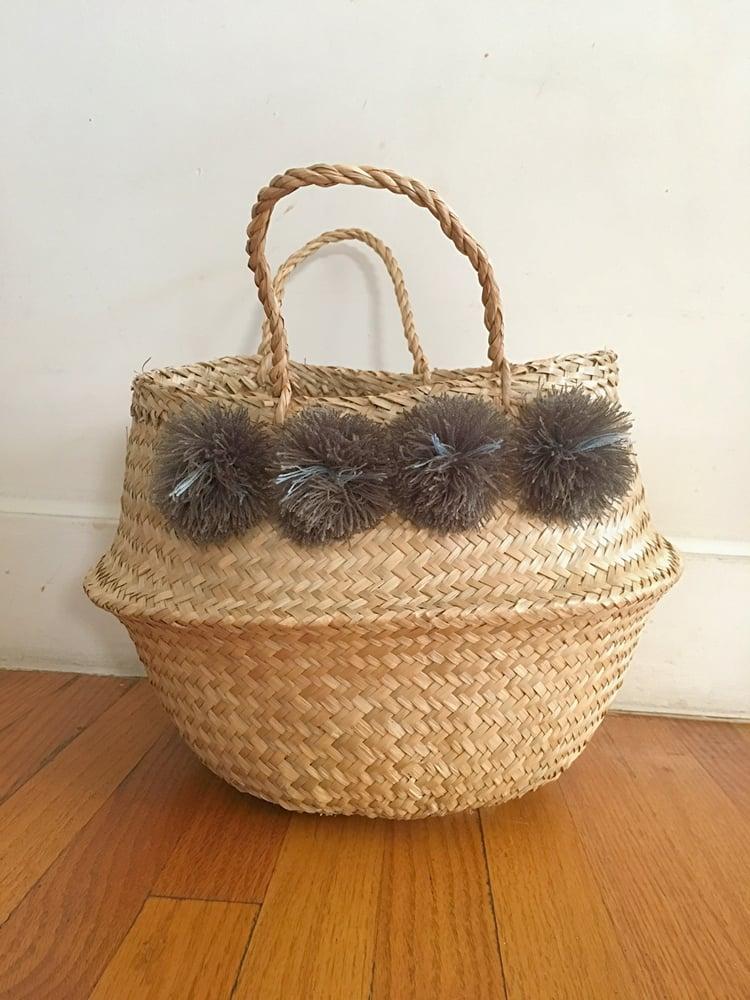 Image of venice basket - grey pom poms medium