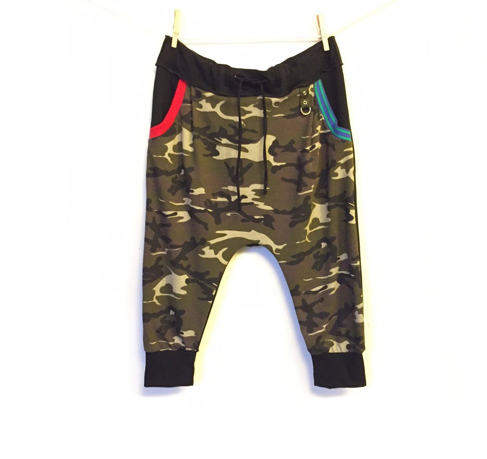 Image of Camo Kick Drop Crotch Pants