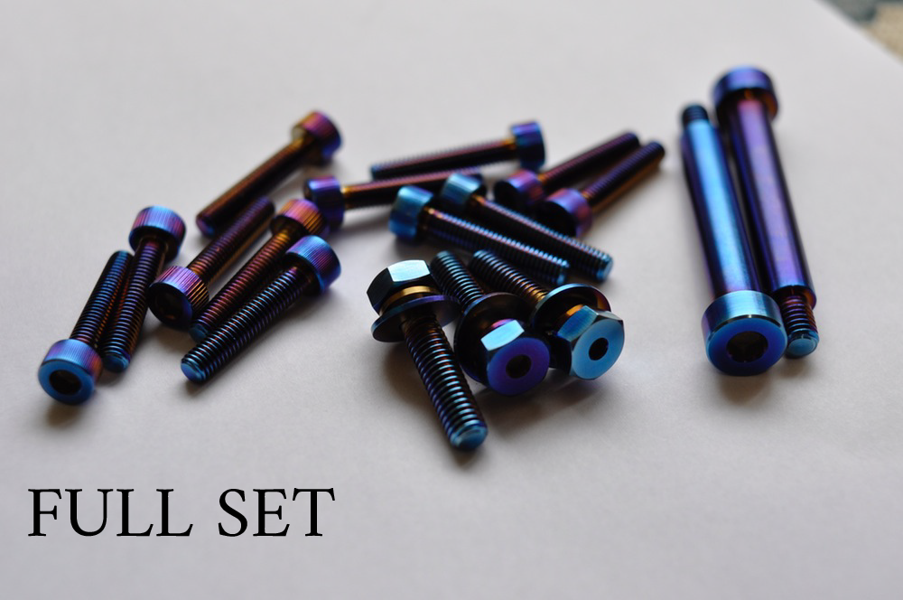 Titanium Bolt Kit - Full Set (Color: Burnt Blue), (Gold, Black coming soon  - inquire pls)