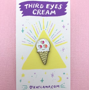 Image of Third Eyes Cream Enamel Pin