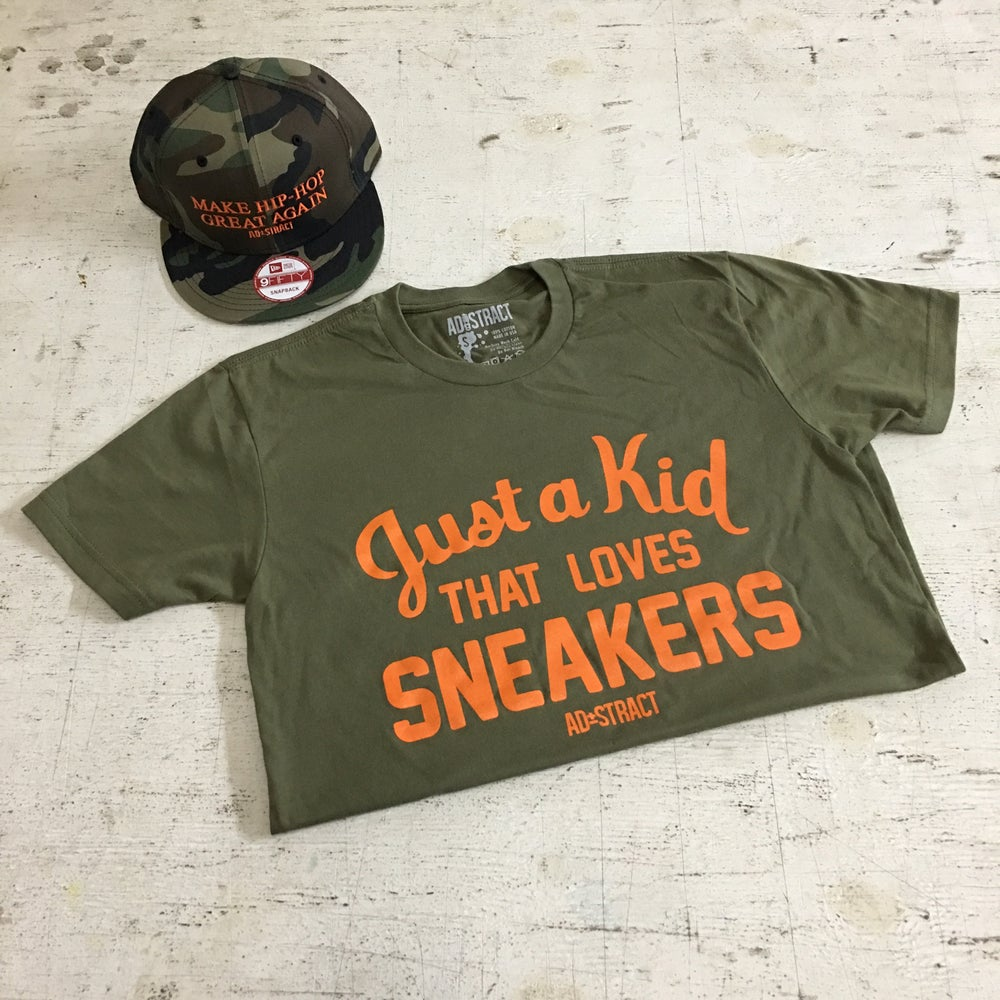 """JUST A KID THAT LOVES SNEAKERS """"OLIVE"""" T-SHIRT"""