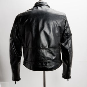 Image of Vintage Men's size 44 Brooks Black Leather Motorcycle Jacket Coat Snap Collar