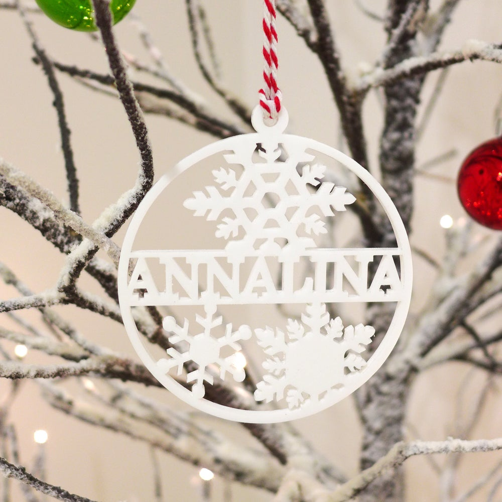 Image of Personalised Snowflake Laser Cut Acrylic Ornament