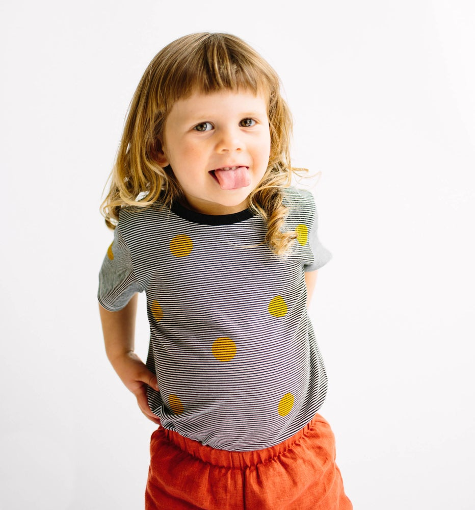 Image of Yellow spots on stripes T-shirt