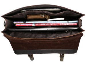 "Image of Vintage Handmade Antique Leather Briefcase / Messenger / 13"" MacBook 13"" 14"" Laptop Bag (n15)"