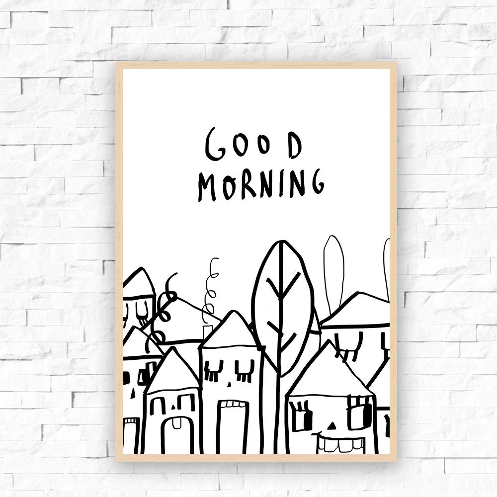 """Image of Lámina """" Good morning neighborhood"""""""