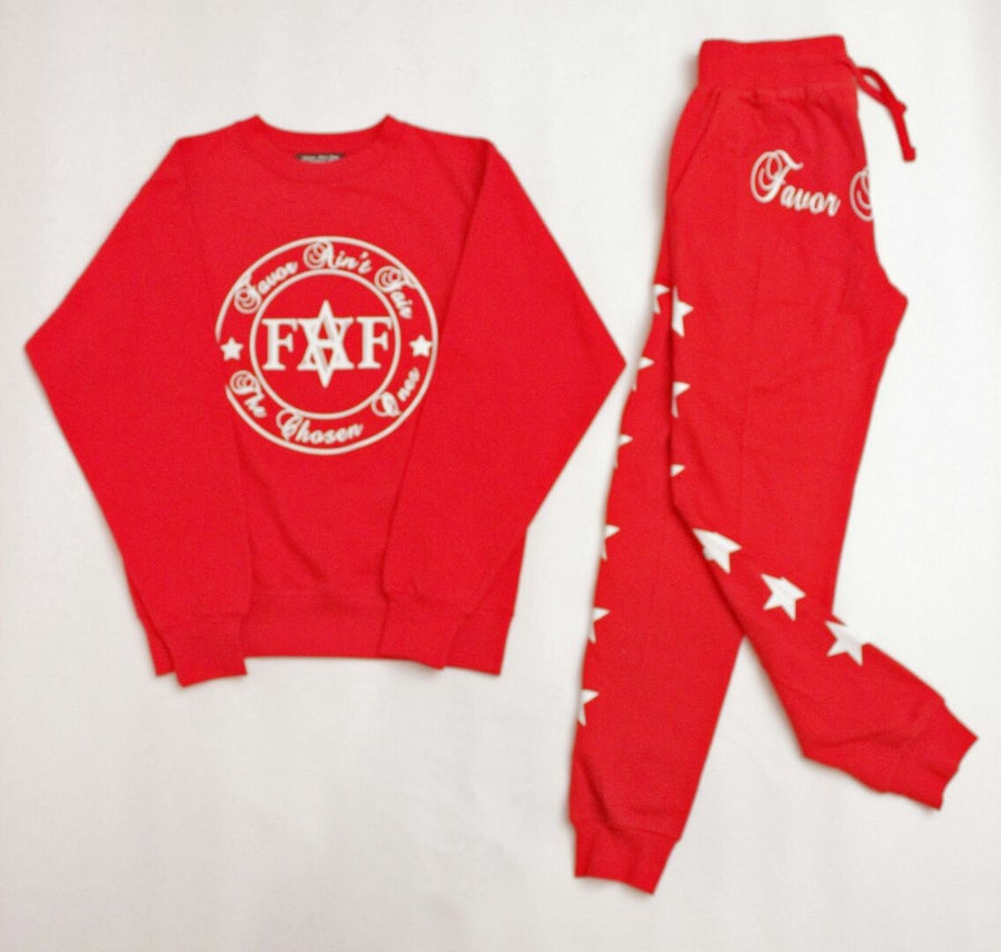 Image of Red and white Premium sweat suit(color options)