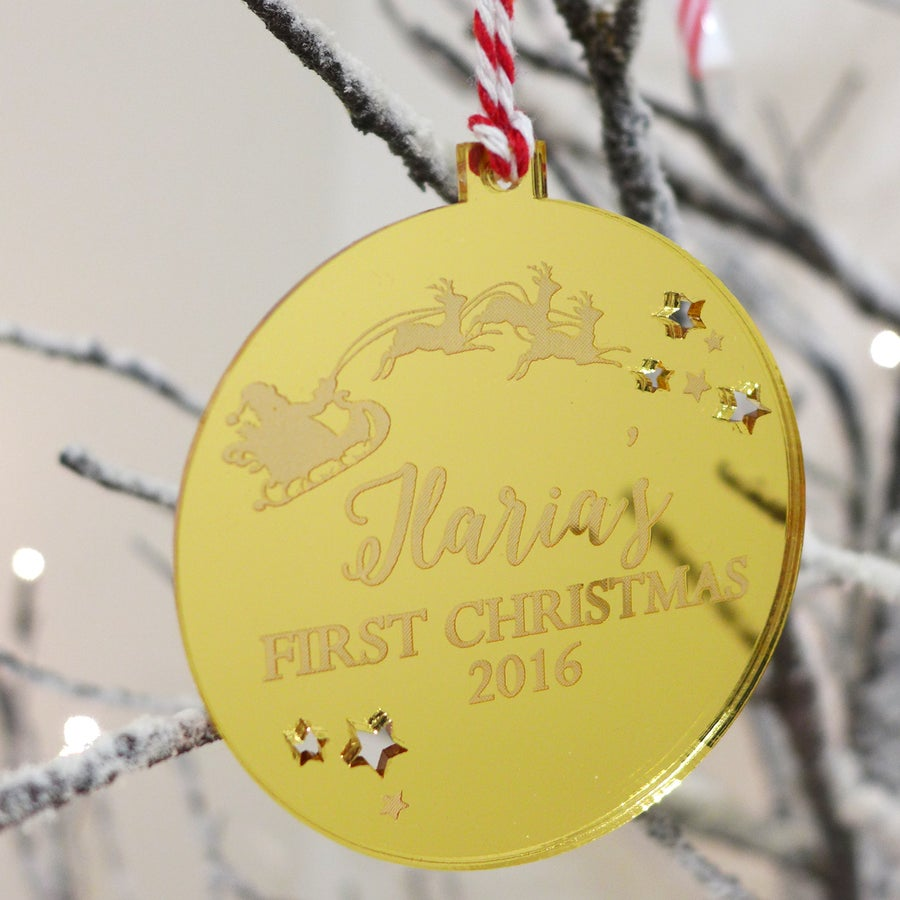 Image of Christmas Santa Bauble with Personalised Message