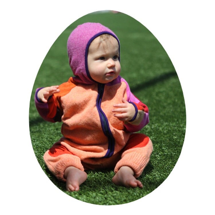 Image of Cashmere and Merino Wool Onesie in beautiful Peach and Autumn Shades, Size 6-12 mth