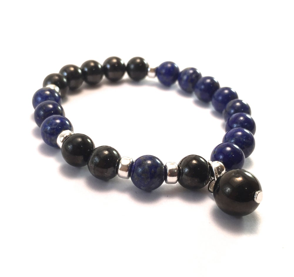 Image of NEW! Lapis Lazuli & Shungite Infinity Wrist Mala