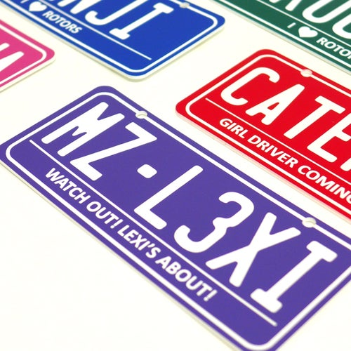 Image of 2x Personalised Kids Engraved Number Plate