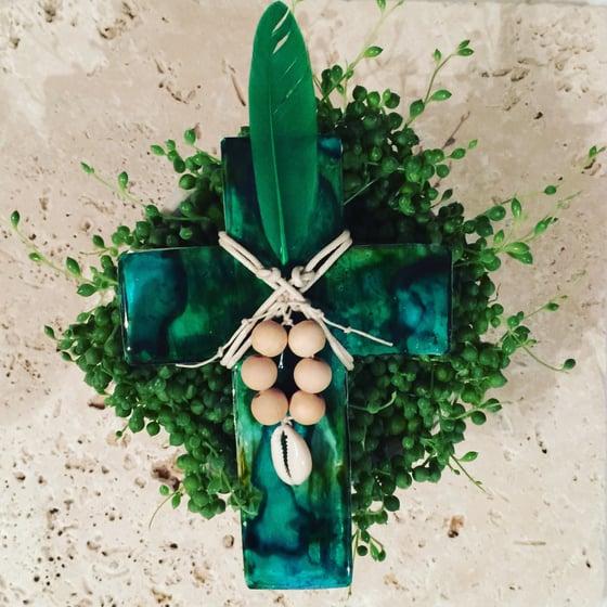 Image of Jewels of the Sea Cross -Green/Aqua