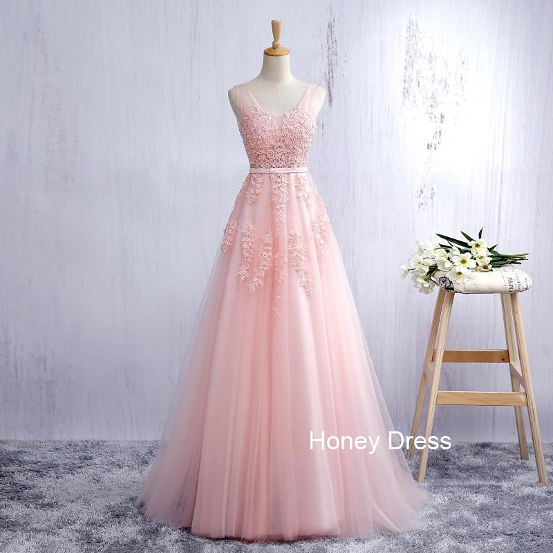 Honey Dress — Pink Tulle A-line Lace Applique Long Prom Dress, Deep ...