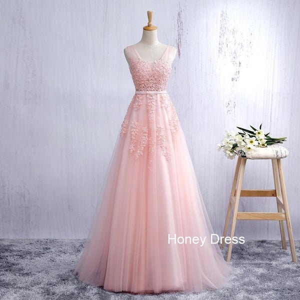 Image of Pink Tulle A-line Lace Applique Long Prom Dress, Deep V Back Strap Prom Gown, Evening Dresses
