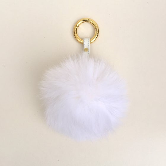Image of White Pom Keyring