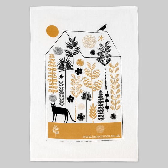 Image of CAT IN A GREENHOUSE TEA TOWEL