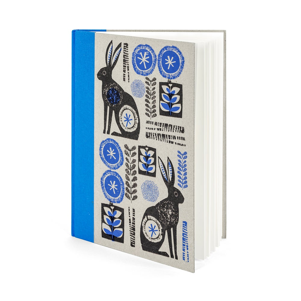 Image of  Hares A4 handprinted blue spined sketchbook
