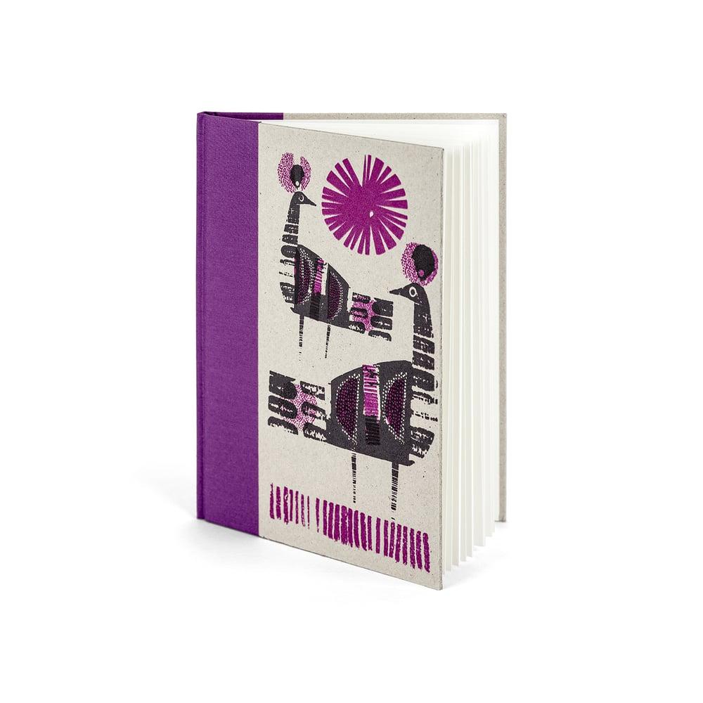 Image of Purple bird A5 handprinted hardbacked sketchbook