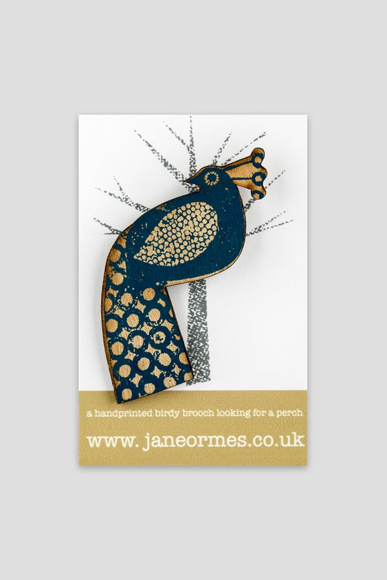 Image of Blue handprinted wooden brooch