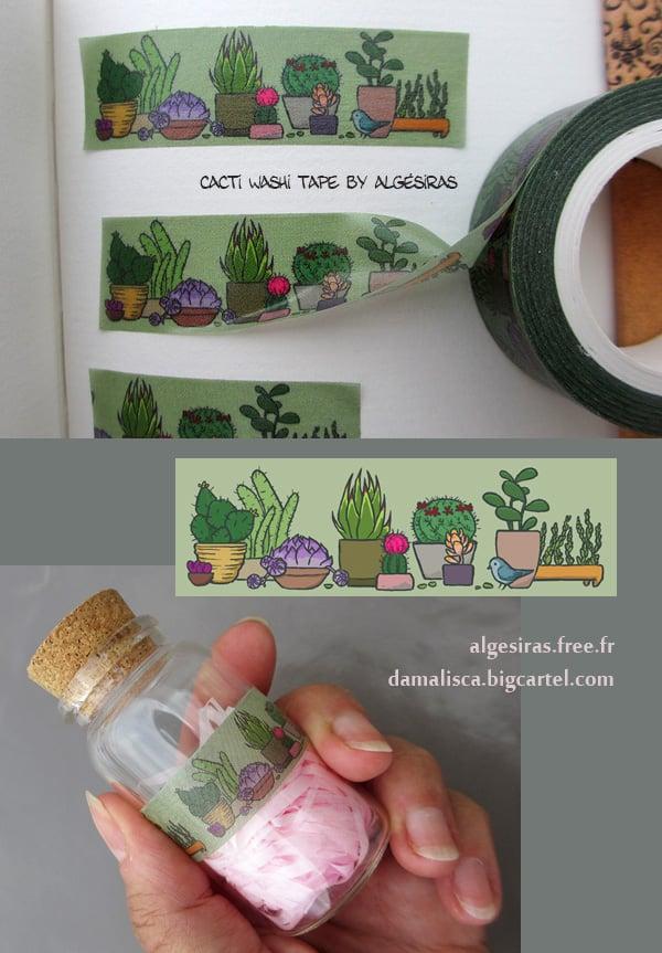 Image of Cacti Washi tape / Masking tape - 1 roll
