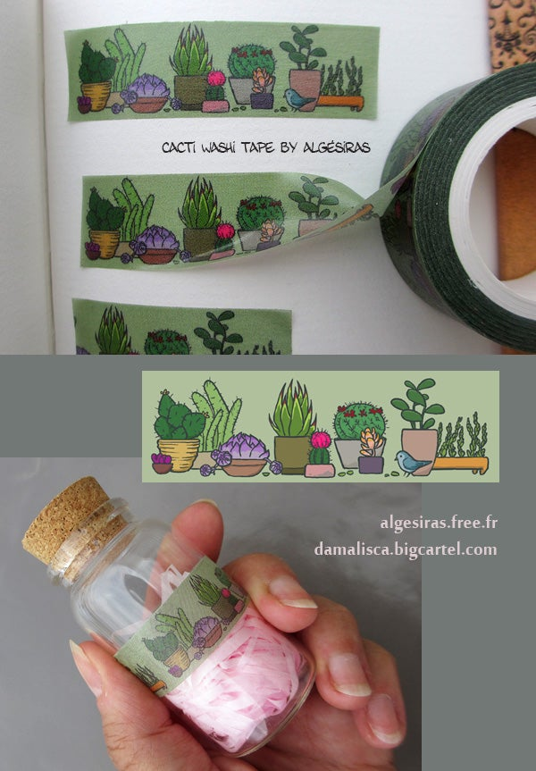 Image of Cacti Washi tape / Masking tape - 1 roll