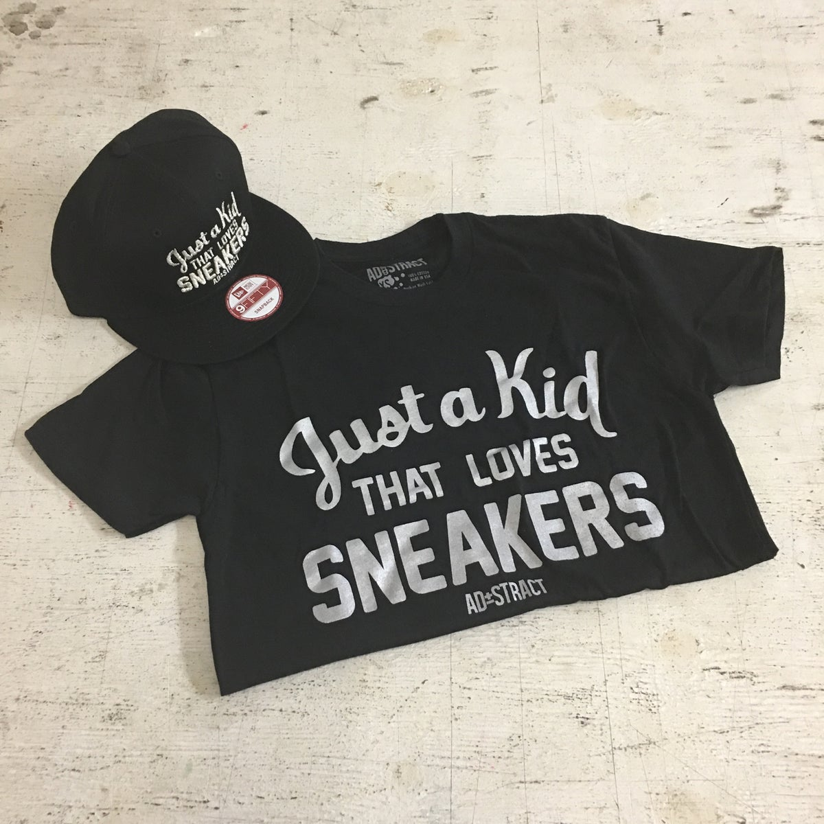 "Image of JUST A KID THAT LOVES SNEAKERS ""SILVER PRINT"" TSHIRT & HOODY (MENS)"