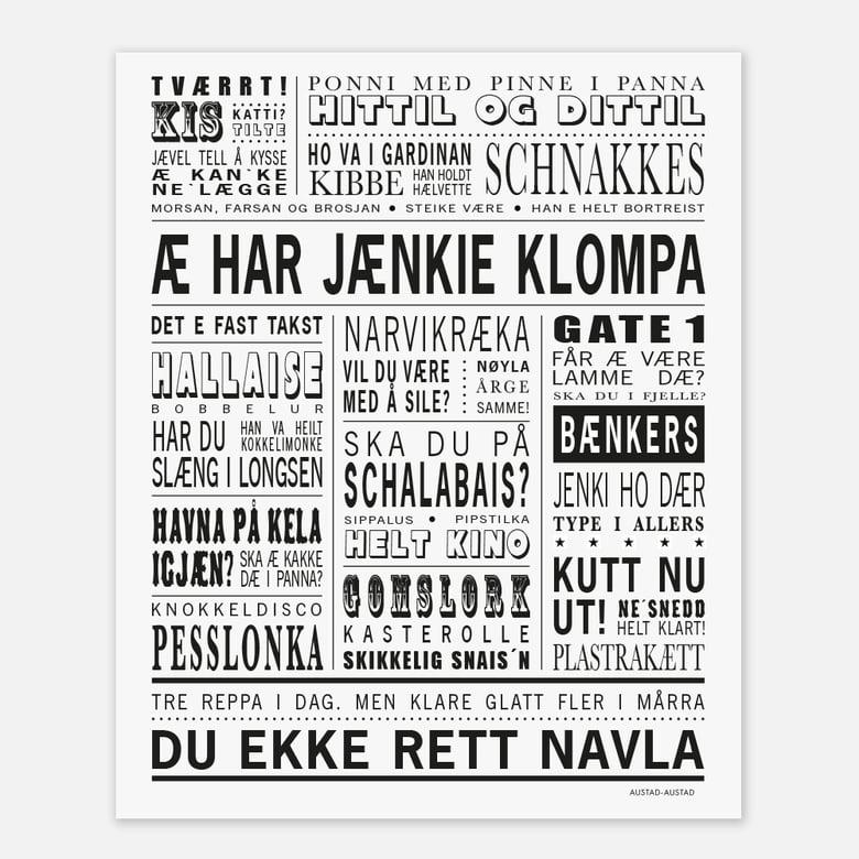 """Image of Narvik omegn plakat """"Æ har jænkie klompa"""""""