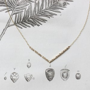 Image of floral carved chevron necklace (in silver or 9ct gold)