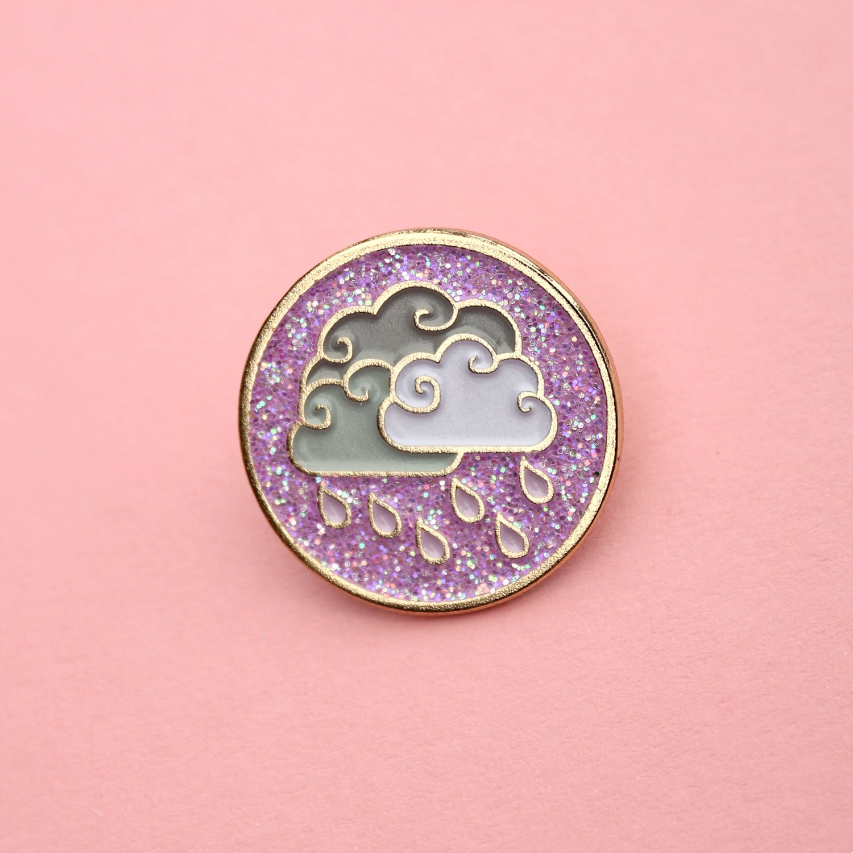 Image of Purple Rain clouds, glitter enamel pin - badge - lapel pin