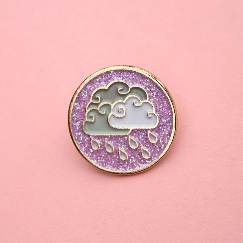 Image of Purple Rain clouds, glitter enamel pin - badge - lapel pin