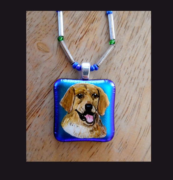 Image of Lovely Golden Retriever Glass Art Bead Sterling Silver Necklace  0133