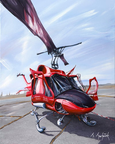 Image of Canadian Coast Guard Bell 212 Helicopter 8x10 Block Mounted Print
