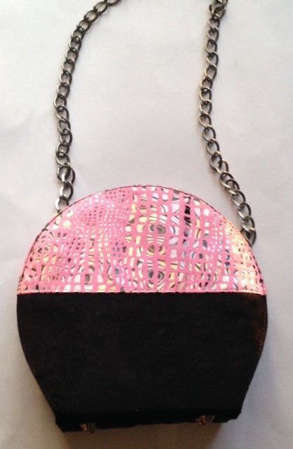 Image of Suede Handbag Pink and Black with Fused Suede