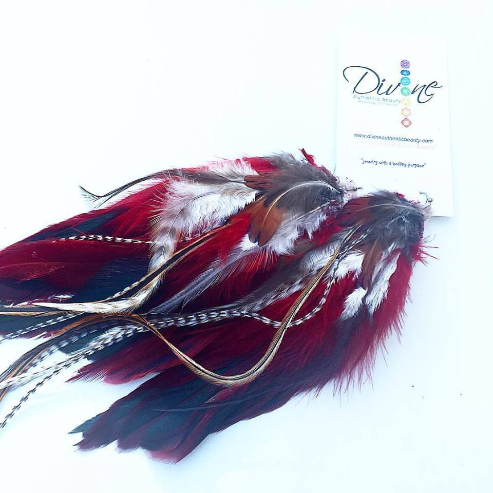 Image of Red Root Chakra Goddess Feather Earrings