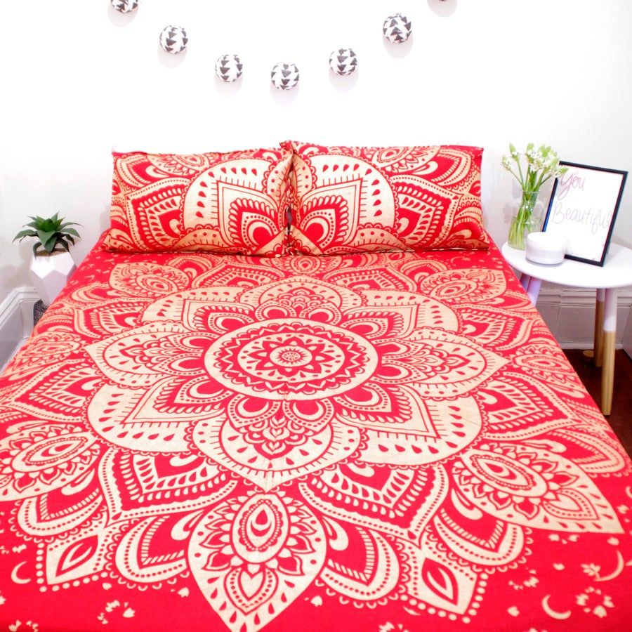Image of Red and Gold Mandala Doona Set-was $110, now