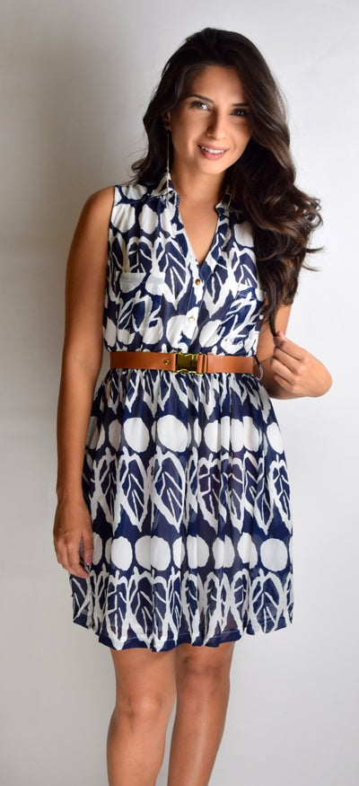 Image of Sleeveless Collard Dress with Waist Belt
