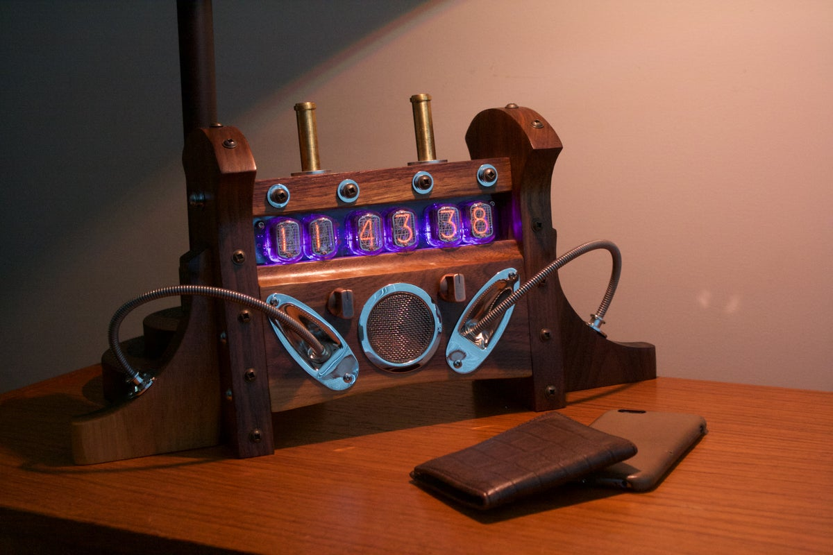 Nixie Tube Clock Mki - Black Walnut  Mixed Hardware  Tgt -7350