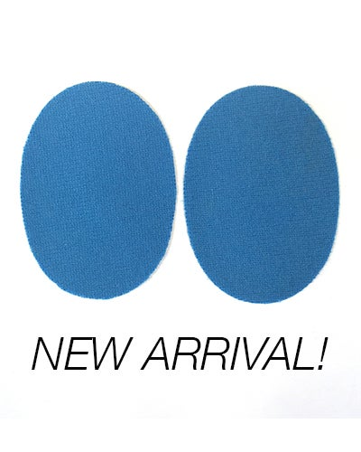 Image of IRON-ON CASHMERE ELBOW PATCHES - SKY BLUE OVALS - LIMITED EDITION