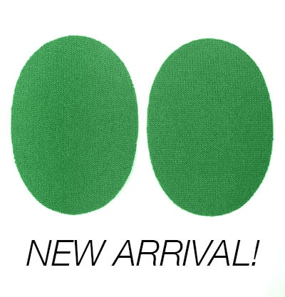 Image of Iron-On Cashmere Elbow Patches  - Kelly Green Ovals