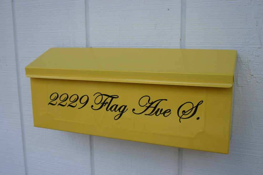 Image of Sun Yellow Painted Mailbox by TheBusBox - Choose your color Wall Mount Porch Mailbox