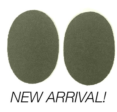 Image of IRON-ON CASHMERE ELBOW PATCHES - HEATHER ARMY GREEN OVALS - LIMITED EDITION
