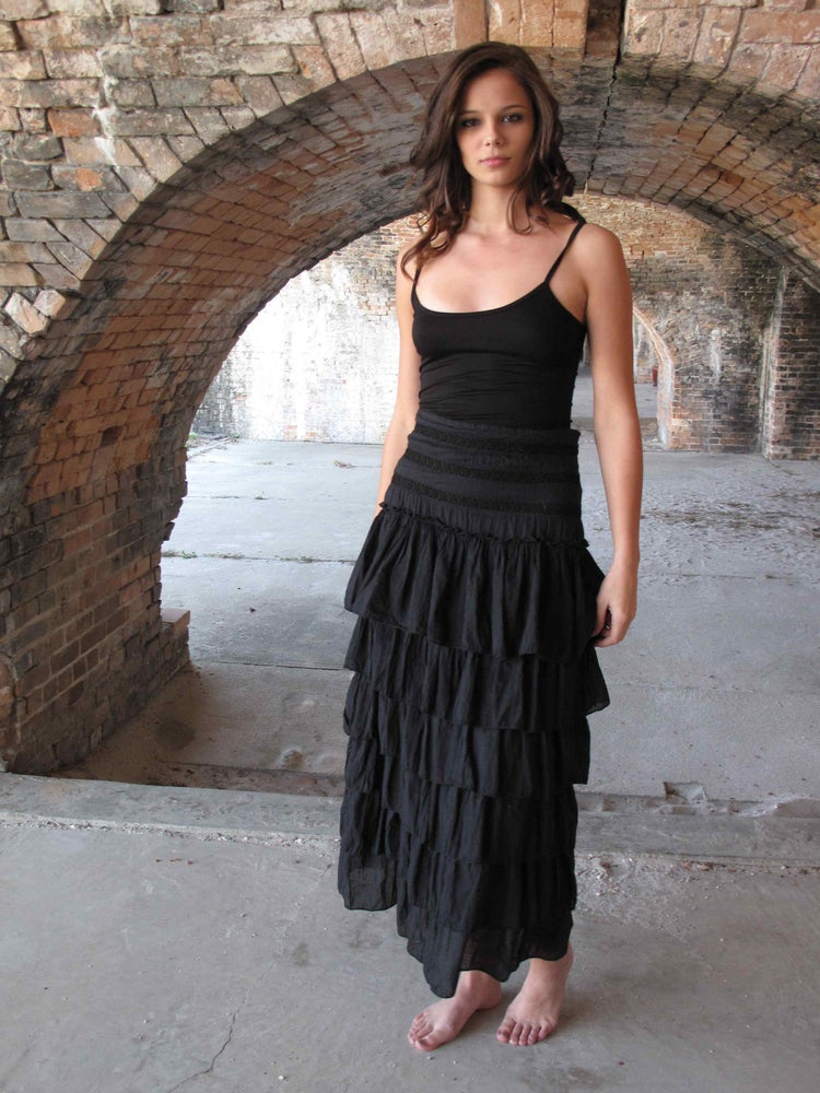 Image of Tiered Cotton Skirt