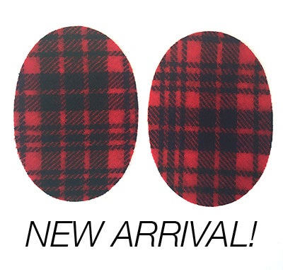 Image of Iron-on Wool Elbow Patches -Hunter red/ black plaid - Limited Edition!