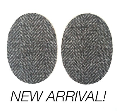 Image of Iron-on Wool Elbow Patches -Dark Grey Herringbone - Limited Edition!