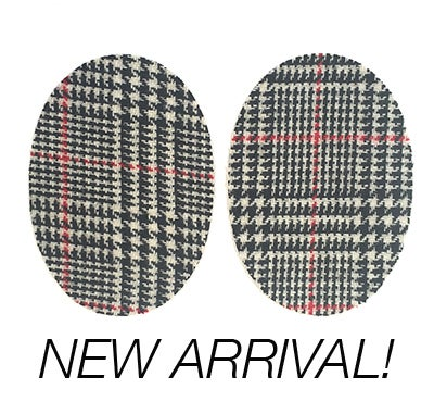 Image of Iron-on Wool Elbow Patches -Black/White/Red Glen Check - Limited Edition!