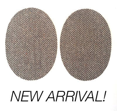 Image of Iron-on Wool Elbow Patches -Light Brown Herringbone - Limited Edition!